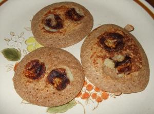 Kaiden's pancakes, pre-carob chips & honey.